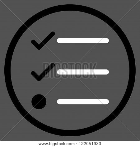 Checklist vector icon. Style is bicolor flat rounded iconic symbol, checklist icon is drawn with black and white colors on a gray background.