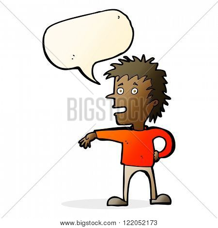 cartoon man making dismissive gesture with speech bubble