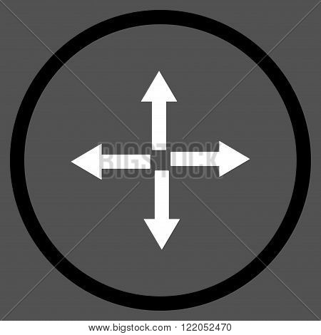 Expand Arrows vector icon. Style is bicolor flat rounded iconic symbol, expand arrows icon is drawn with black and white colors on a gray background.