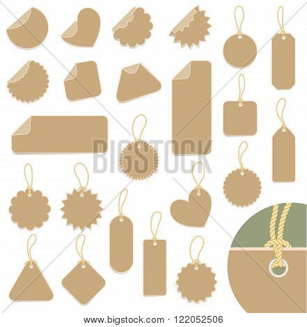 set of carton labels with ropes. vector