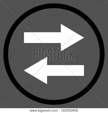 Horizontal Flip Arrows vector icon. Style is bicolor flat rounded iconic symbol, horizontal flip arrows icon is drawn with black and white colors on a gray background.