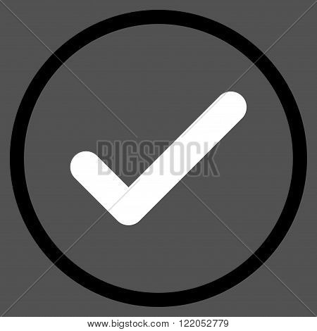 Ok vector icon. Style is bicolor flat rounded iconic symbol, ok icon is drawn with black and white colors on a gray background.