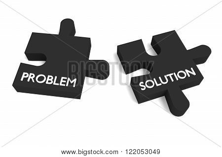 Black puzzle problem and solution, jigsaw on white background