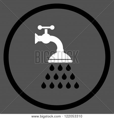 Shower Tap vector icon. Style is bicolor flat rounded iconic symbol, shower tap icon is drawn with black and white colors on a gray background.