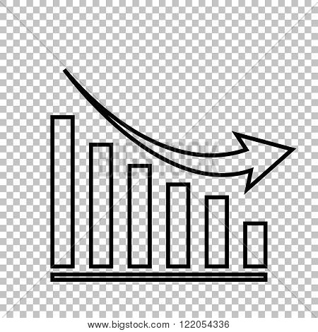 Declining graph line vector icon