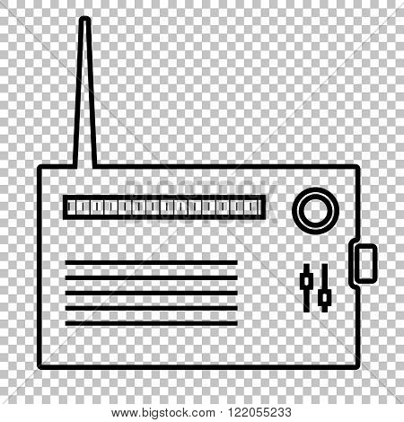 Radio silhouette line vector icon