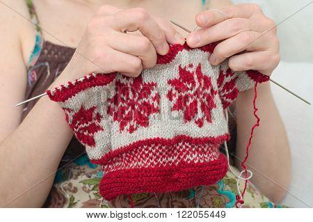 Woman Knitting Snowflake