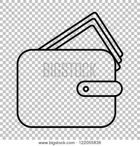 Wallet line vector icon
