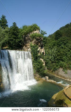 River and waterfall in the city Jajce Bosnija and Herzegovina
