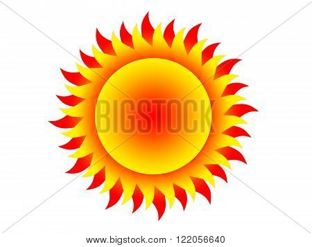Symbol of the yellow-red sun on a white background