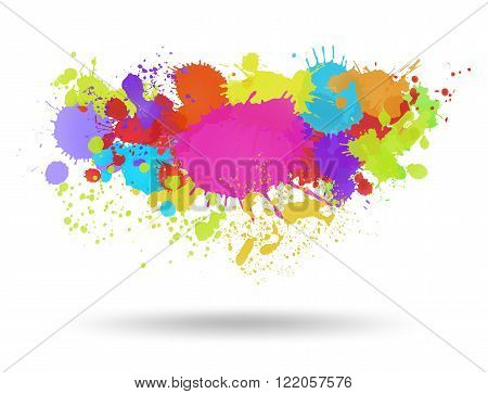 Multi color blots background with shadow. Vector illustration