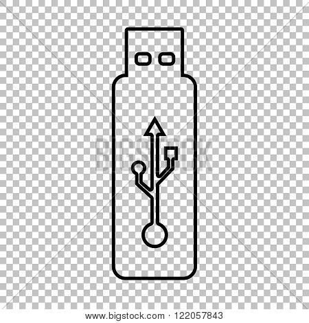 Vector usb flash drive line vector icon
