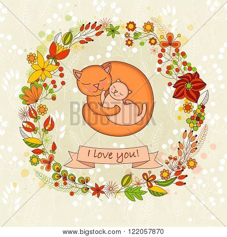 Vector cute card for Happy mothers day. Background with floral wreath and Mother's hugs. Cute cats - mom and kitten.