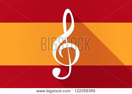 Spain  Long Shadow Flag With A G Clef