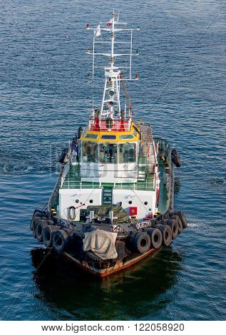 Valparaiso Chile - December 3 2012: The Tugboat Querto at the port of Valparaiso Chile.