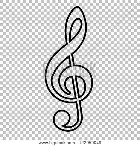 Violine clef line vector icon