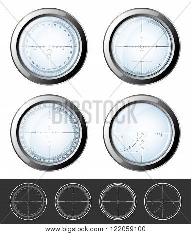 Set of military design elements - crosshair sniper scopes isolated on white background. Vector illustration eps10.