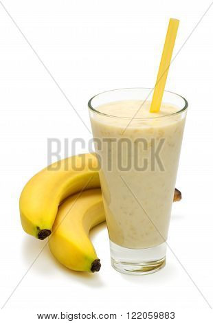 cold banana milk smoothies with straws and banana fruit on a white background