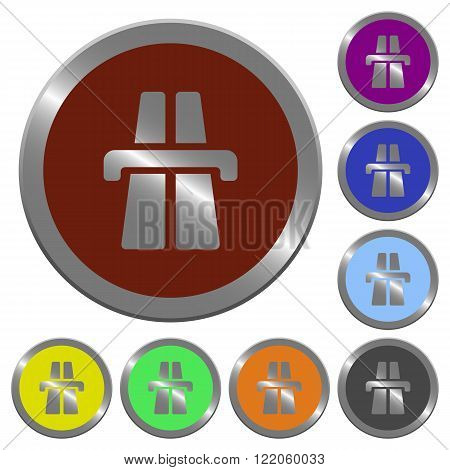 Set of color glossy coin-like highway buttons.