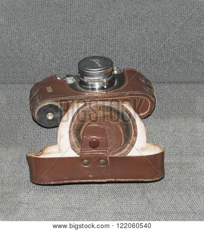 MOSCOW RUSSIA- DECEMBER 16- Leica photo camera (1941) at the Central Museum of the armed forces on December 16; 2015 in Moscow