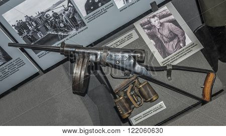 MOSCOW RUSSIA- DECEMBER 16- 7.62-mm pistol-machine gun Degtyarev system - gift to Major General A.I.Rodimtsev at the Central Museum of the armed forces on December 16; 2015 in Moscow