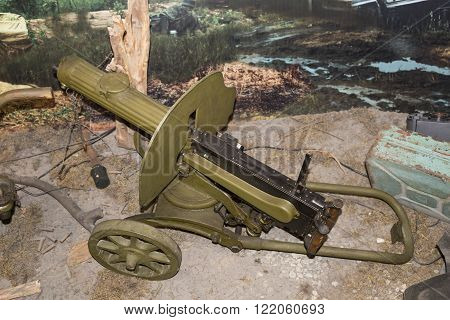 MOSCOW RUSSIA- DECEMBER 16- 7.62-mm machine gun Maxim sample of 1910 (1945) at the Central Museum of the armed forces on December 16; 2015 in Moscow