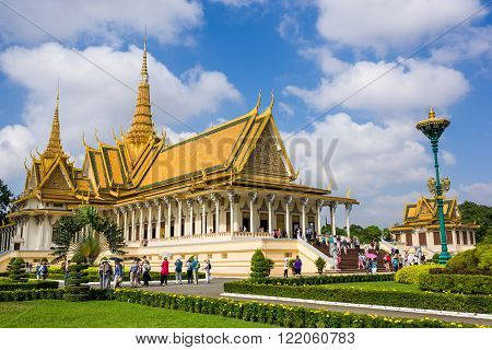 Phnom Penh, Cambodia, 17 Nov 2015: Tourists visiting the Royal Palace in the capital on a sunny day.
