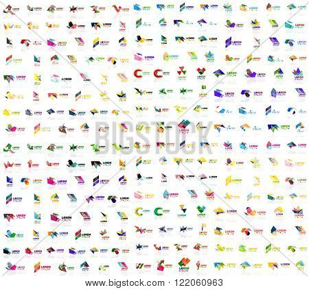 Mega collection of geometrical abstract logo templates, origami paper style business icons with sample text. Vector illustration