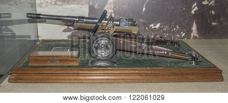 MOSCOW RUSSIA- DECEMBER 16- Current model of a howitzer-gun model 1937 year. Shoots half charge regular cartridge 7.62mm at the Central Museum of the armed forces on December 16; 2015 in Moscow