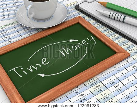 Image of Blackboard with time-money. Three-dimensional Shape