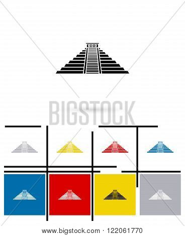 Mexican mayan pyramid icon or mexican mayan pyramid sign. Vector mexican mayan pyramid pictogram