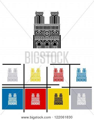 Notre Dame de Paris icon or notre Dame de Paris sign. Vector notre Dame de Paris pictogram