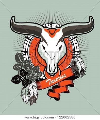 vector illustration Taurus emblem vintage frame with feathers