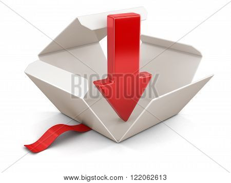 Open package with arrow downwards. Image with clipping path