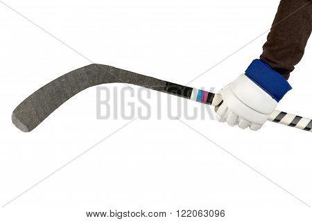 Ice hockey the athlete's hand holding stick