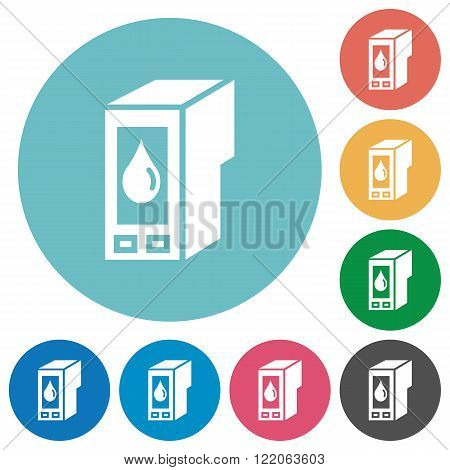 Flat ink cartridge icon set on round color background.