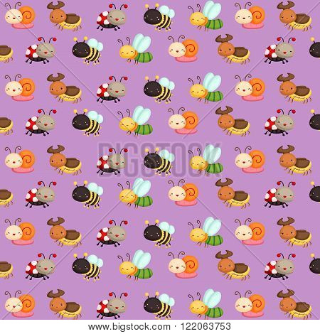 a vector of cute bugs pattern background