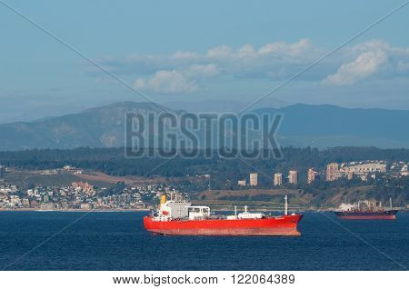 Valparaiso Chile - December 4 2012: Lpg Tanker Pacific Gas on the background of Valparaiso Chile.