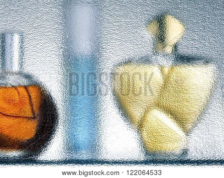 Three fragrance bottles silhouette behind blue glass