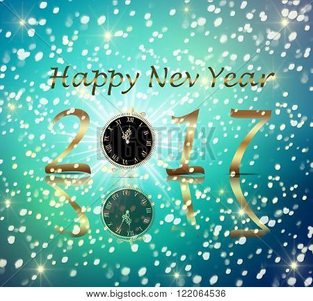 Congratulation happy new year 2017 on a blue background with snow