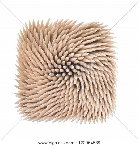 Toothpicks set on white background. Clipping path