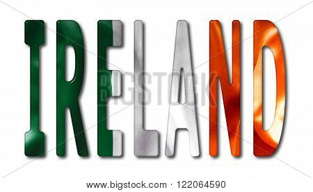 Ireland word with a bevelled flag texture on an isolated white background with a clipping path with and without shadows
