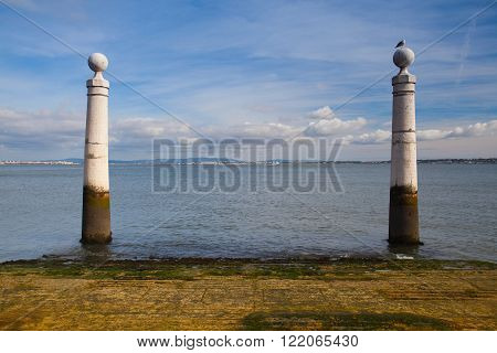 Famous Columns Wharf (Cais das Colunas) at Commerce Square Lisbon Portugal