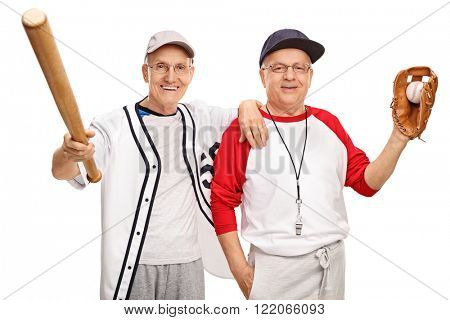 Two senior amateur baseball players with a bat and a ball isolated on white background