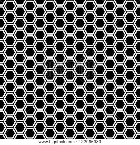 Vector modern seamless geometry pattern hexagon black and white honeycomb abstract geometric background subtle pillow print monochrome retro texture hipster fashion design
