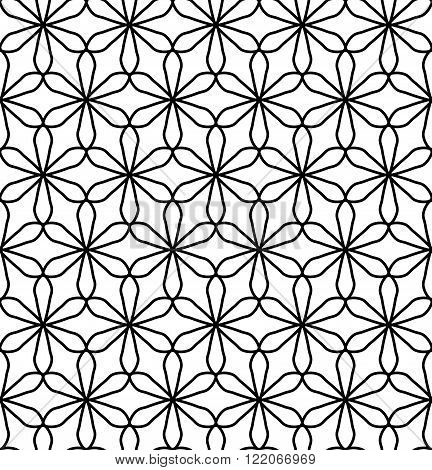 Vector modern seamless geometry pattern flower of life black and white abstract geometric background subtle pillow print monochrome retro texture hipster fashion design
