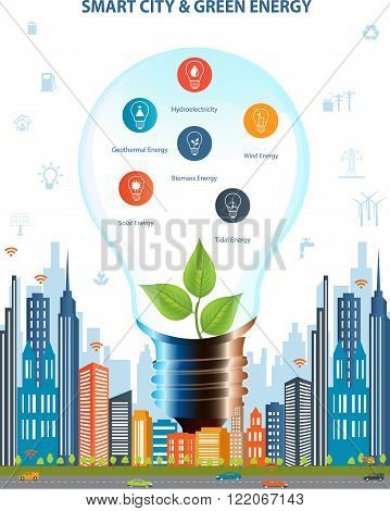 Ecological city concept.Smart city concept and Green energy with different environmental icons. Green city design. Smart city concept/ Smart energy