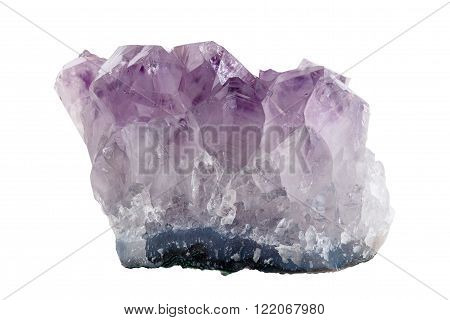 Mineral purple quartz a sample on a white background, amethyst