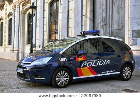 BARCELONA SPAIN - DECEMBER 23: Police car in the street of Barcelona on December 23 2014. Barcelona is the secord largest city of Spain.