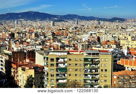 Barcelona skyline view from the Montjuic hill
